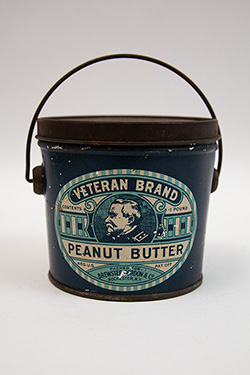 Antique Bail Handled Blue Tin Litho Peanut Butter Pail
