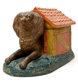1880s Rare Figural Redware Dog in Doghouse Tobacco Humidor