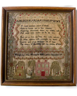 Folk Art Sampler 19th Century Early Massachusetts Antique House Sampler Boston Provenance