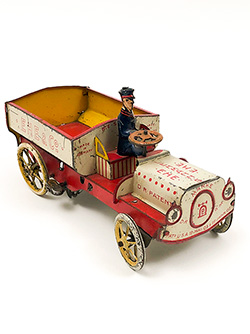 Lehmann antique tin windup ehe red white blue vehicle