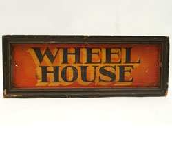 Antique Painted Wooden Sign: Wheel House Nautical Boat Sign, Vibrant and Colorful Antique American Sign for Sale