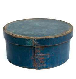 Original Blue Painted Round Antique Pantry Box Signed Frye, N.H.