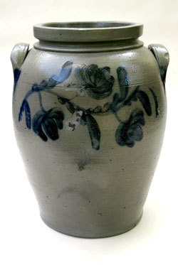 Cobalt Blue Decorated Semi-Ovoid Three-Gallon Storage Jar Great Primitive Stoneware Jar