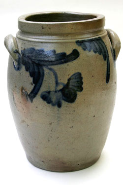Blue Decorated Two Gallon Semi Ovoid Stoneware Storage Jar, Pennsylvania or Maryland Origin
