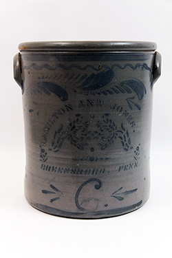 Hamilton and Jones Greensboro Pennsylvania Cobalt Decorated Rose Stencil Salt Glazed 6 Gallon Stoneware Crock