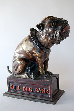 Bull Dog Cast Iron Mechanical Bank For Sale