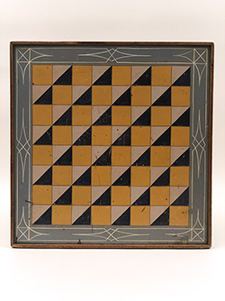 19th Century 5 Color Checkerboard with Slate Blue Gray Border Paint Decorated Antique Wooden Parcheesi Gameboard