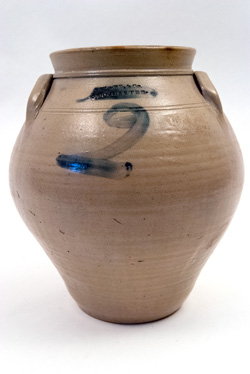 Early 19th Century Stoneware Ovoid Blue Decorated New York Jar Marked Clark