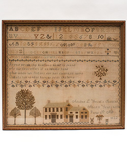 Early American Needlework Schoolgirl House Sampler Adaline L Yount New London CT For Sale