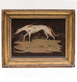 Antique American Felt Needlework Greyhound Whippet Worcester Mass Phillipps