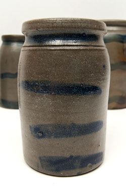 Four Strip Cobalt Blue Decorated Pennsylvania Antique American Salt Glazed Storage Crock Jar for Sale