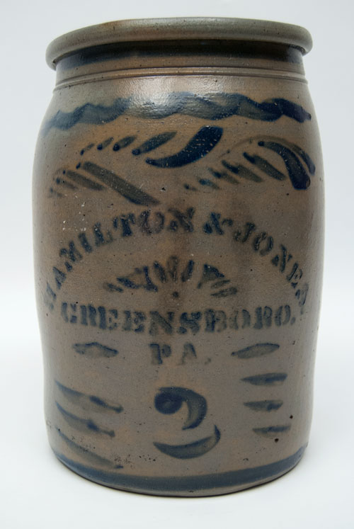 Hamilton and Jones Cobalt Decorated Early American Antique Stoneware For Sale: Salt Glazed Blue Stencil and Freehand Crock Greensboro Pennsylvania