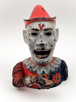 Humpty Dumpty Antique 19th Century Original Cast Iron Painted Mechanical Bank For Sale