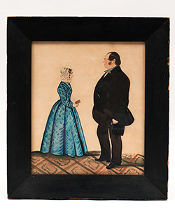 Early 19th Century Watercolor Portrait Woman in Blue Dress Man with Top Hat and Watch Fob