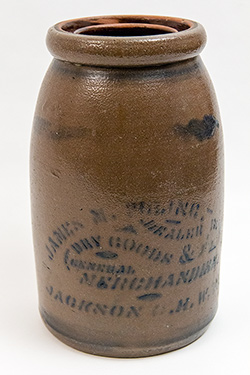 Jackson Court House Ripley West Virginia Merchant Jar Blue Decorated Stoneware 19th Century For Sale