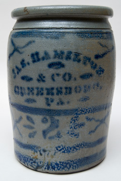 James Hamilton Company Cobalt Decorated  Two-Gallon Storage Jar