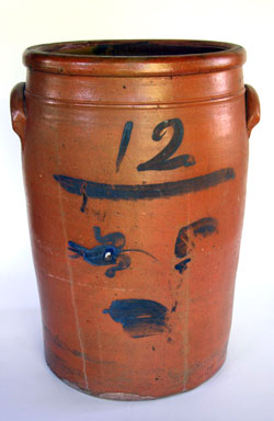 12 Gallon Rare Blue Decorated Jane Lew, WV Storage Jar