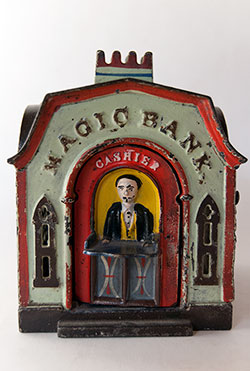 Magic Bank Cast Iron Mechanical Bank For Sale