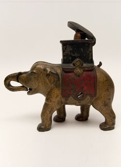 Elephant Howdah Man Pops Out Mechanical Bank
