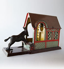 Mule Entering Barn Cast Iron Mechanical Bank For Sale