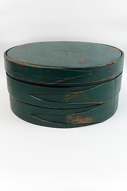 Early American Country Primitive Wisconsin Cheese Box in Original Green Paint Signed H B Nichols For Sale