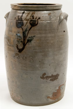 Rare Civil War Era Antique American Stoneware with Manganese Floral Decoration and incised Date 1863