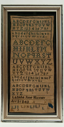 Rare Antique Sampler from Kokomo Indiana 1854 Woolwork