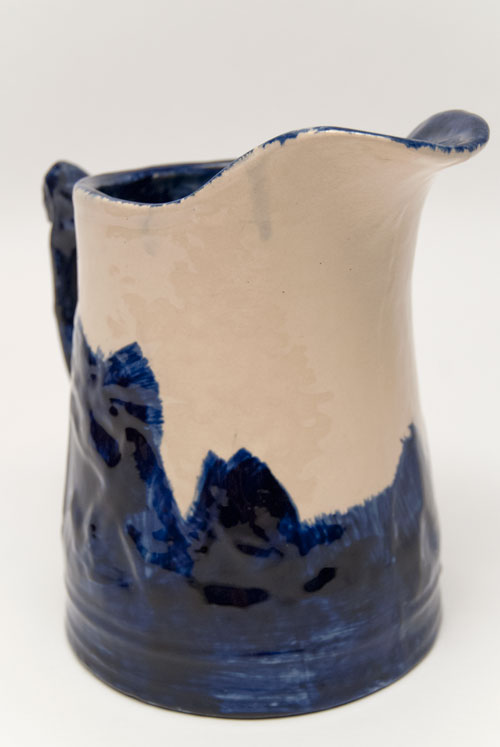 Sleepy Eye Blue and White Decorated Pitcher: Signed and Dated 1910 by Frank Haw