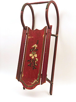 Antique Wooden Sled Paint Decorated Red White Green For Sale Dramatic Country Antiques