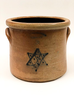 Antique American Stoneware Salt Glazed Crock Star of David Cobalt Blue Decoration Seymour Brothers Hartford Connecticut