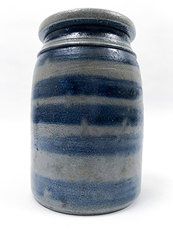 Rare Antique American Cobalt Blue Decorated Salt Glazed Stoneware Southwestern Pennsylvania 1 Quart Wax Sealer Canning Jar With 6 Stripes For Sale From Z and K Antiques