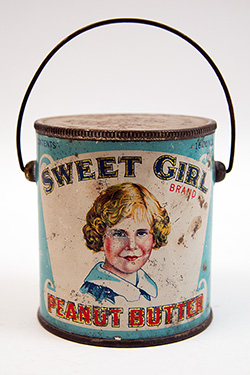 Rare Midwestern Antique American Tin Litho Advertising: 1920s Sweet Girl Brand Peanut Butter Tin