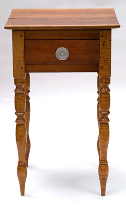 Antique Tigher Maple and Cheery Stand | Mixed Woods One Drawer Stand with great glass knob and master craftsman turned legs