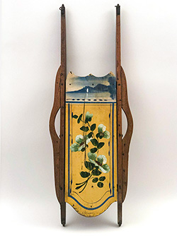 Yellow Blue Paint Decorated Antique Wooden Sled For Sale Sailing Scene Large Floral Pin Stripes 19th Century