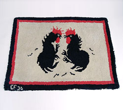 Antique American Hooked Rug Folk Art Rooster Fight Cocks Cock Fighting