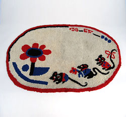 Folk Art, Americana, Red White Blue Antique Hooked Rug, early 20th century