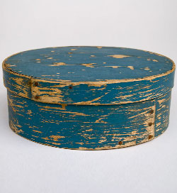 Original Blue Paint Dry Surface Oval Antique Pantry Box