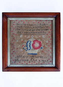 Antique Sampler Earl American Needlework 19th Century Folk Art