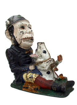 Unique and Rare Antique Paddy and the Pig Mechanical Bank For Sale