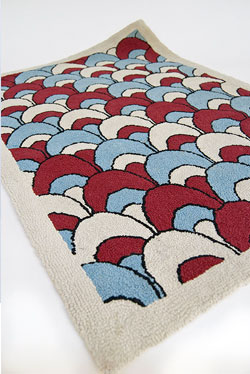 Patriotic, Americana, Red White Blue Antique Hooked Rug