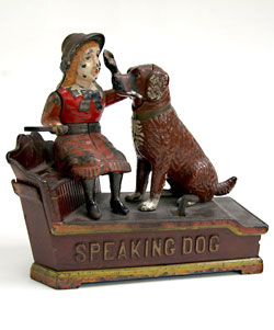 Antique Speaking Dog Mechanical Bank For Sale