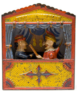 Punch and Judy Antique Mechanical Bank