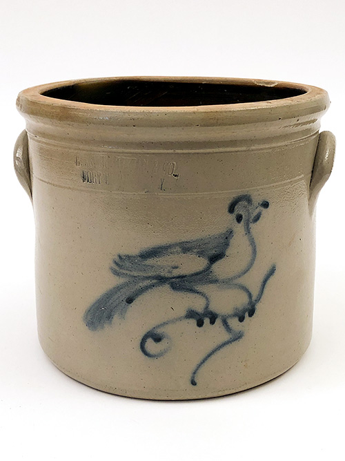 Bird on Branch Blue Decorated Stoneware Crock For Sale