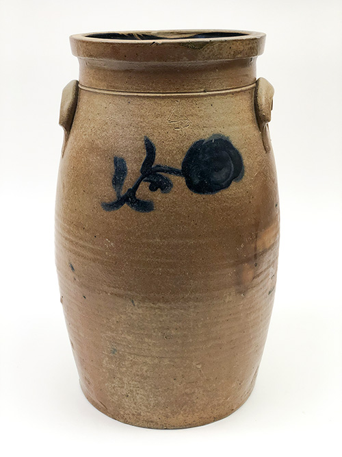 Ohio Antique Blue Decorated Stoneware Churn For Sale