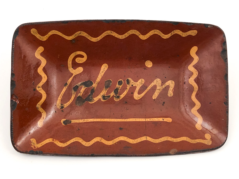 Named Edwin Antique American 19th Century Folk Art Yellow Slip Decorated Redware Loaf Dish For Sale