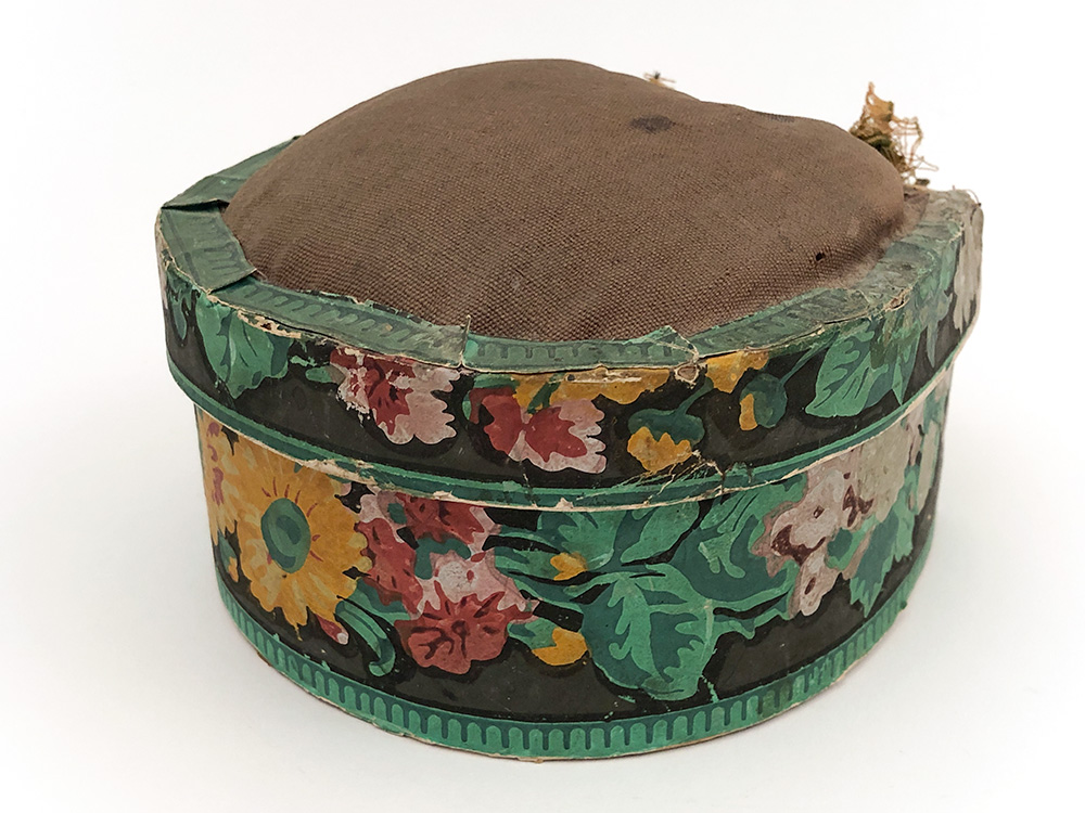 Antique Wallpaper Sewing Box with Pinchushion Top For Sale