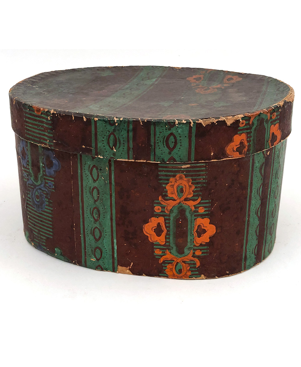 Early American Antique Folk Art Oval Wallpaper Box For Sale