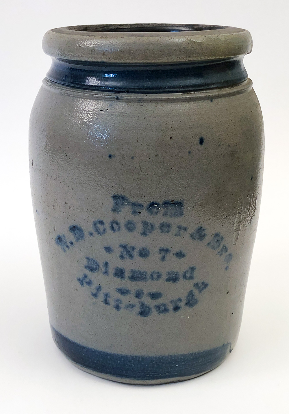 Blue decorated stoneware pennsylvania merchant jar for sale