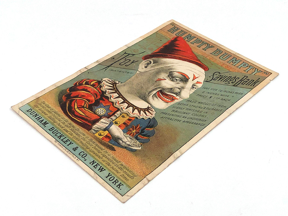 Antique Cast Iron Humpty Dumpty Mechanical Bank Trade Card For Sale