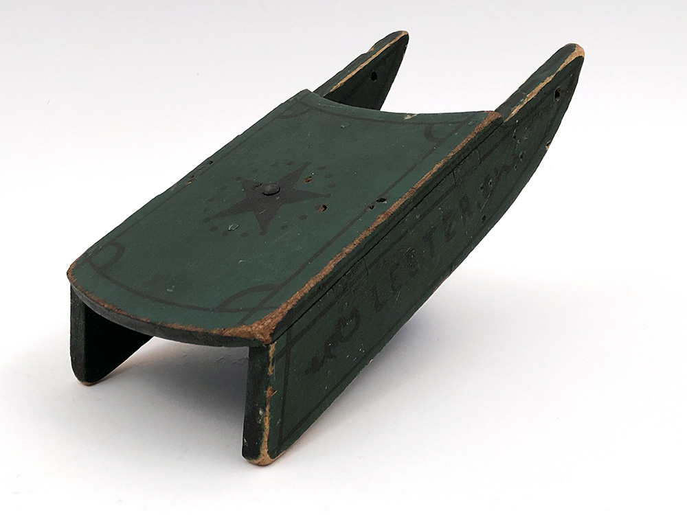 Antique American Handmade Folk Art Doll Sled in Original Green and Black Paint For Sale